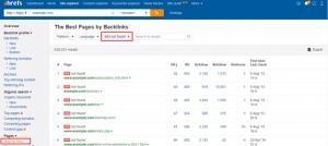 Ahrefs' Broken backlinks tool