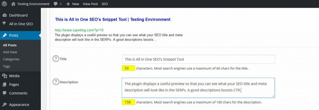 All in One SEO Snippet