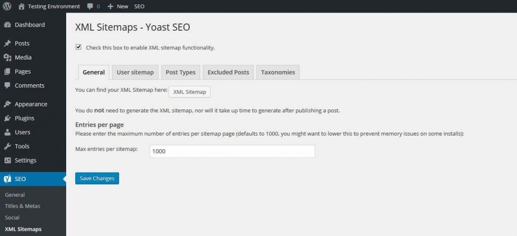 Yoast SEO XML Sitemap