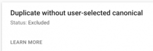 duplicate without user-selected canonical error in google search console
