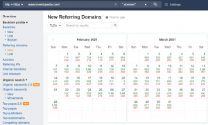 referring domains displayed on ahrefs